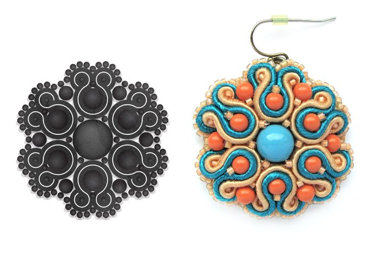 Coral/Turquoise soutache earrings.