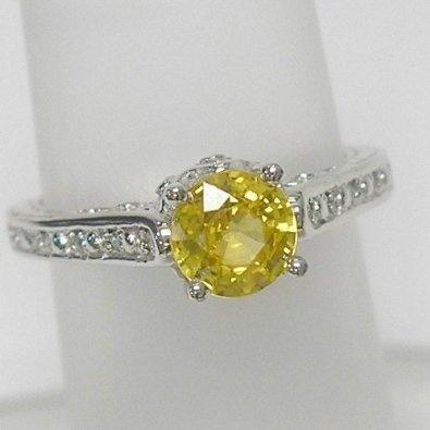 Amazon.com: 14K White Gold Yellow Sapphire and Diamond Ring: Jewelry