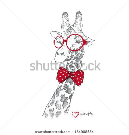Hand drawn Illustration of Giraffe in Round Glasses isolated on white background by Olga_Angelloz, via ShutterStock