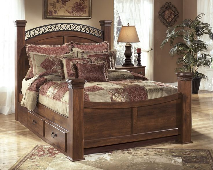 Timberline Queen Sleigh Bed With Storage Home Bedroom Posters Bed Furniture Sleigh Bedroom Set
