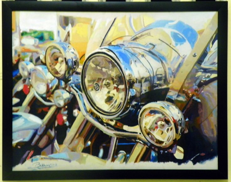 Painting Harley Davidson Pigmen,. oil on canvas