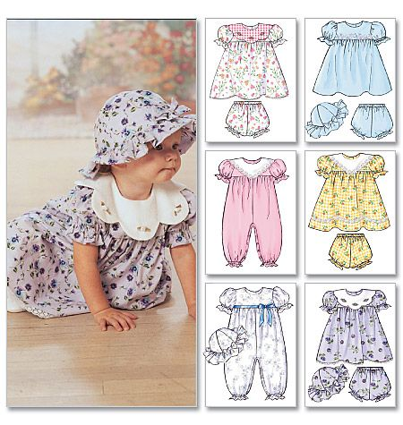 Butterick B4110 Baby dresses, rompers, diaper covers, and hats