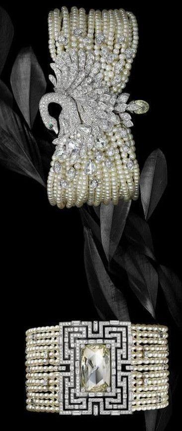 Braccialetti di perle e diamanti di Cartier