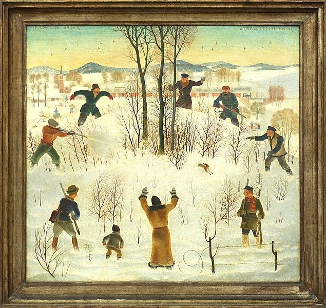 Stefan Pluzanski (Polish 1906-1970) Hare Hunt, oil on wood panel, 29 x 31 1/2 in (73.7 x 80 cm), PROVENANCE: From the collection of Zorick Ward, New York to daughter to a private collection in NY. Exhibited 1938, International Exhibition of Paintings, Carnegie Institute, Pittsburgh, Pa, Exhibitied Polish Paintings Loan Exhibition, The Detroit Institute of Arts, June - July, 1945