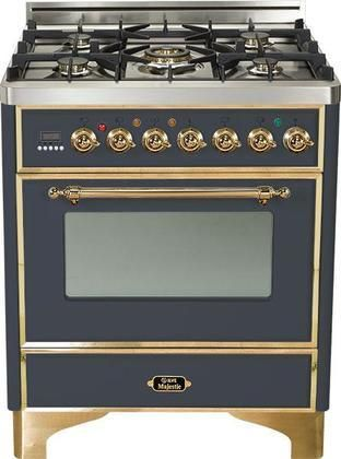 """UM-76-DMP-M 30"""" Majestic Series Freestanding Dual Fuel Range with 5 Sealed Burners 3.0 cu. ft. Primary Oven Capacity Convection Oven Warming Drawer Brass Trim in Matte Graphite"""