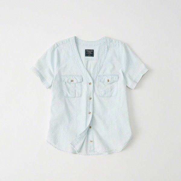 Abercrombie & Fitch Chambray Baseball Shirt ($48) ❤ liked on Polyvore featuring tops, light denim, button up shirts, short sleeve baseball shirt, short sleeve shirts, short sleeve tops and short sleeve button down shirts