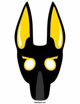 Anubis mask templates including a coloring page version of the mask. Free printable PDF at http://maskspot.com/download/anubis-mask/