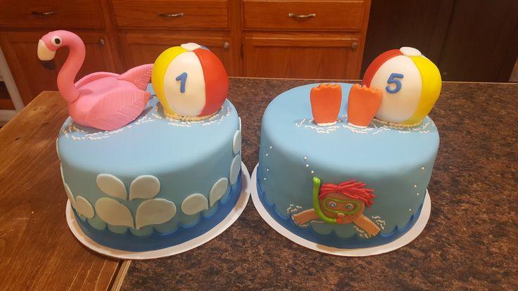 Pool party Cakes. Beachball cakes. Birthday cakes
