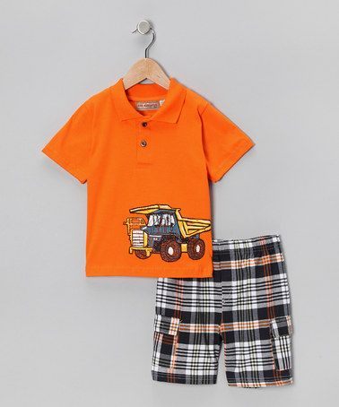 Take a look at this Orange Truck Polo & Plaid Shorts - Toddler & Boys by Kids Headquarters on #zulily today!