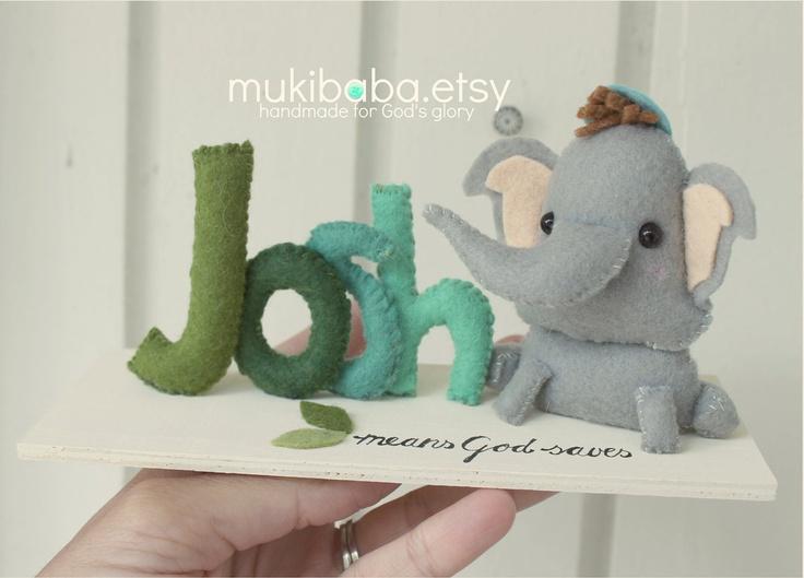 CUSTOM NAME ELEPHANT - custom kid's decor- personalized baby decor - baby elephant - children room decor - safari baby @Emily
