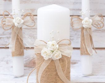 Rustic Wedding Candles Rustic Unity Candle Set Unity by AniArts
