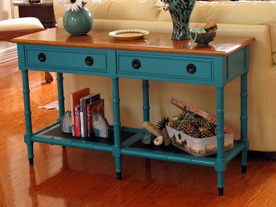 Just Judy : Sofa Table Makeover! And Paint Sofa Table Turquoise