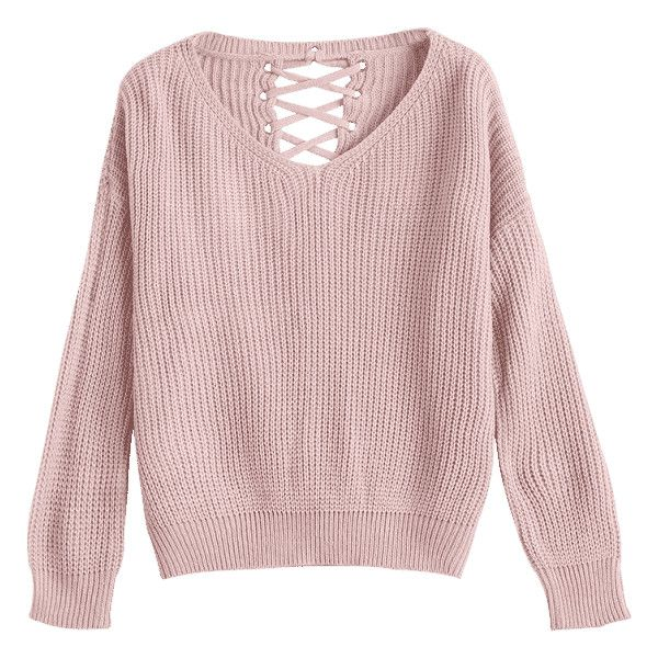 Drop Shoulder Lace Up Chunky Sweater Nude Pink (€20) ❤ liked on Polyvore featuring tops, sweaters, laced tops, lace-up tops, lace front top, drop shoulder sweater and drop shoulder tops