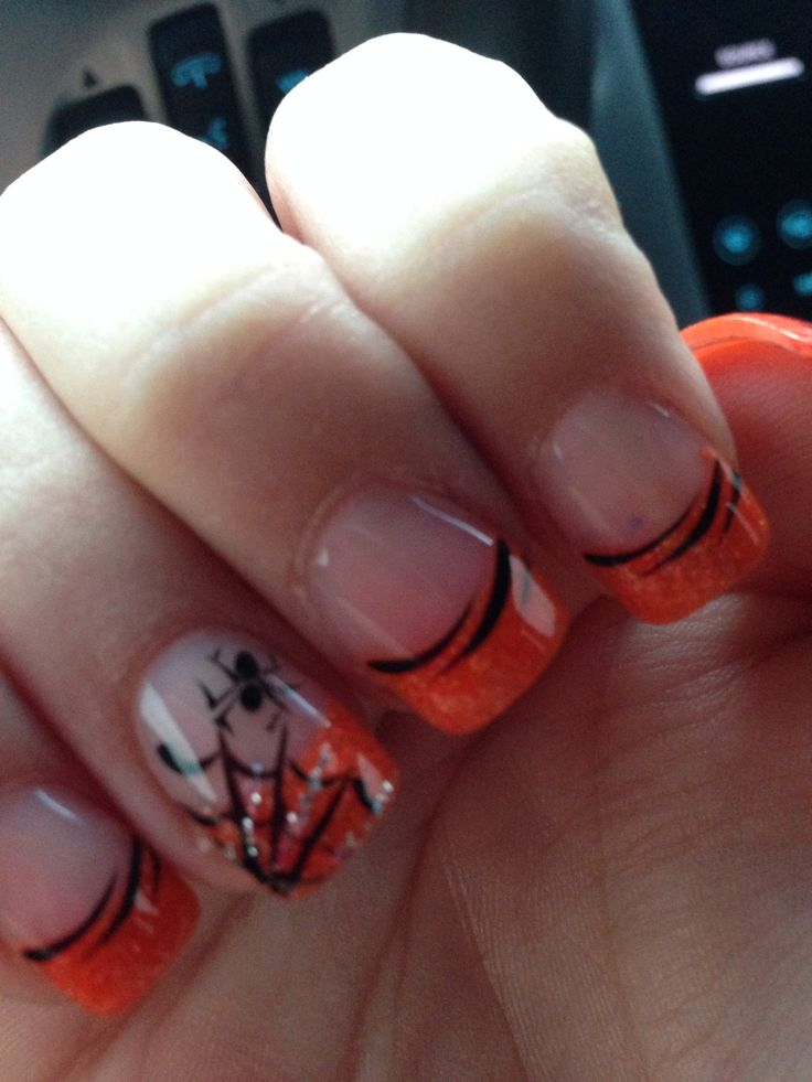 Love! Halloween nails-might change the tip to black, and the ring finger either orange or white
