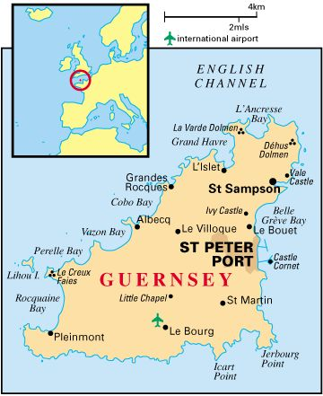 Guernsey, Channel Island  Ancestors farmed there, were planters, and were ship's captains, before emigrating to Prince Edward Island, Canada