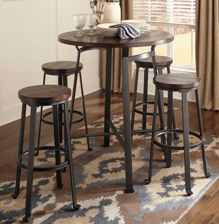 Round Metal & Wood Pub Set | Chicago Furniture Stores