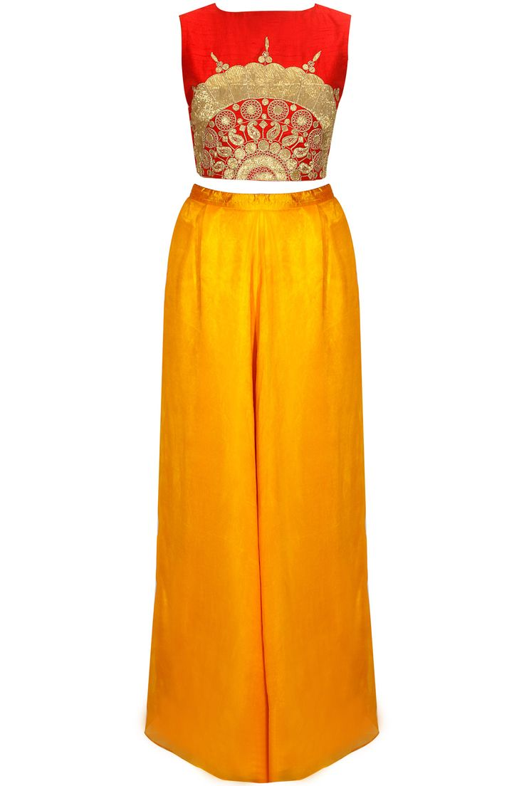 Red embroidered crop top with mustard palazzo pants  by Nidhi Agarwal