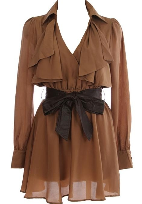 Macchiato Shirt Dress: Features an elegant surplice bodice framed by long, lightweight cuffed sleeves, overlapping drapes and folds surrounding the neckline, easy elastic waist with a faux-leather belt to play with, and a gorgeous gathered skirt to finish.