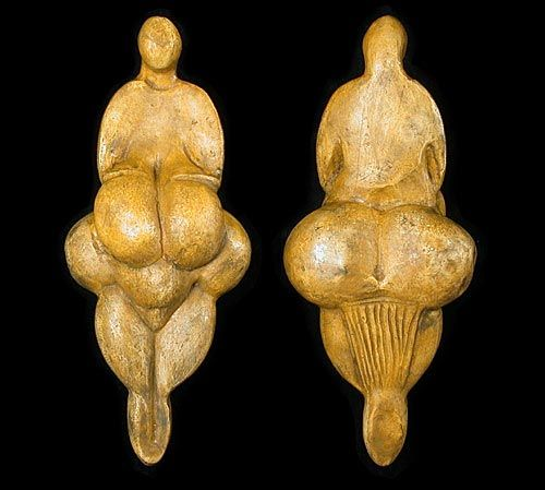 """venus"" of Lespugue 6000 BCE. she wear a string skirt that hangs down in back, under the buttocks."