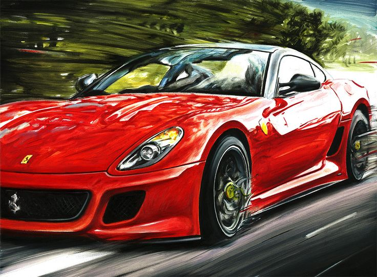 ferrari 599 gto original oil painting on canvas by italy