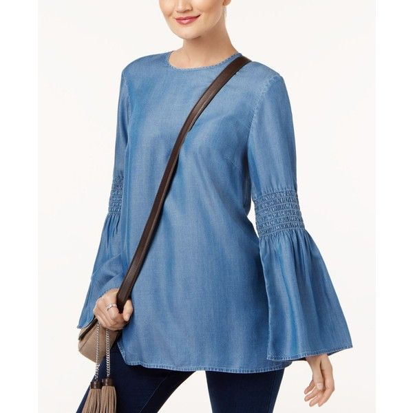 Michael Michael Kors Bell-Sleeve Chambray Tunic ($84) ❤ liked on Polyvore featuring tops, tunics, light cadet wash, chambray top, flared sleeve top, smock top, michael kors and blue tunic