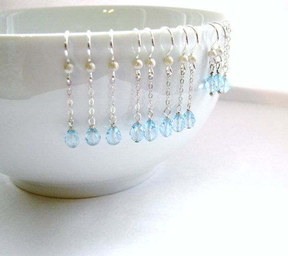 25% OFF SALE, 4 Pairs Genuine AAA Blue Topaz Earrings, .925 Sterling Silver, Matching Bridesmaids Earrings, Wedding Jewelry, Ready, Gift Box