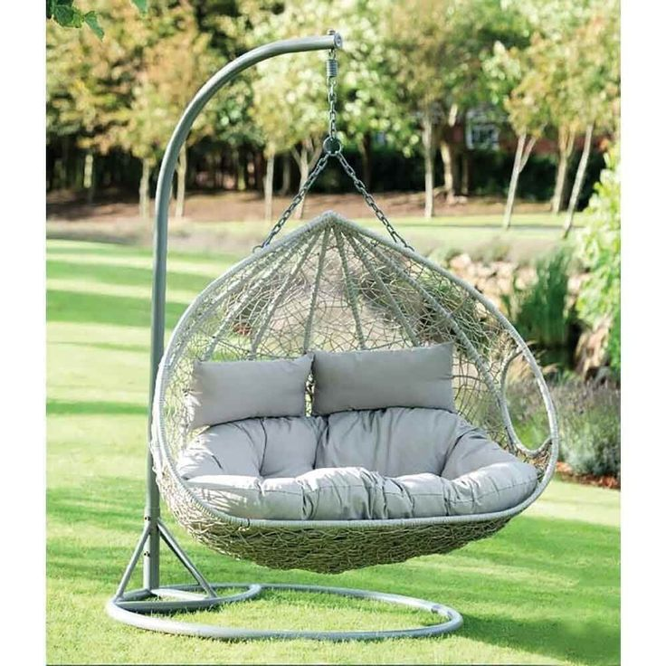 Double Rattan Hanging Egg Chair Garden Furniture