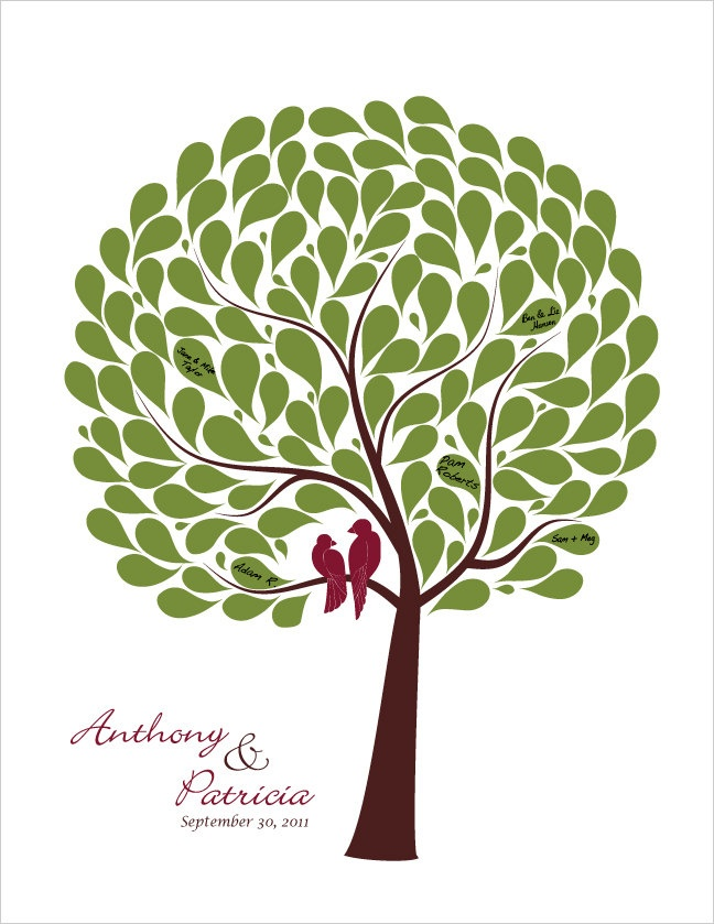 Wedding Tree guestbook alternative, Personalized Signature tree, Maroon burgundy olive green, size 17x22 for 125 guests. $50.00, via Etsy.