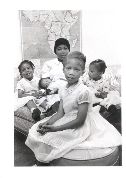 Betty Shabazz, wife of Malcolm X, with their daughters.