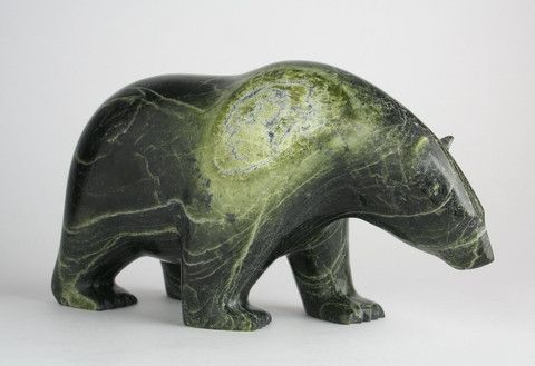 To the Eskimo and Inuit peoples this animal is a source of both physical and spiritual nourishment. On a spiritual level, the polar bear is regarded as the embodiment of the spirit of the North, an animal who possesses ancient wisdom and has shamanic powers. Text by Shamanic Journey Ursa Major: The Great Bear, 2014 Inuit Sculpture