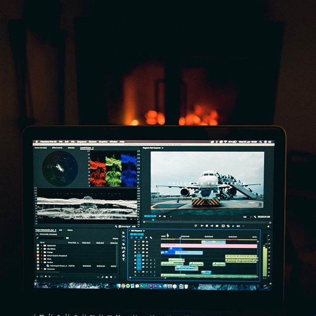 Editing by the fireplace. Who said that editing couldn't be cozy?       #videoediting #videoeditor #videoedit #adobe #adobepremiere #premierepro #postproduction #videoproduction #filmmaking #filmmaker #macbookpro #ig_mood #instagood #instadaily #freelance #freelancelife #colorgrading #lumetricolor #documentary #work #ilovemyjob