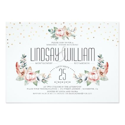 #Blush Pink   Floral Modern Rehearsal Dinner Card - rehearsal dinner invitations #rehearsal #dinner #invitations #weddinginvitations #wedding #invitations #party #card #cards #invitation #rehearsaldinner