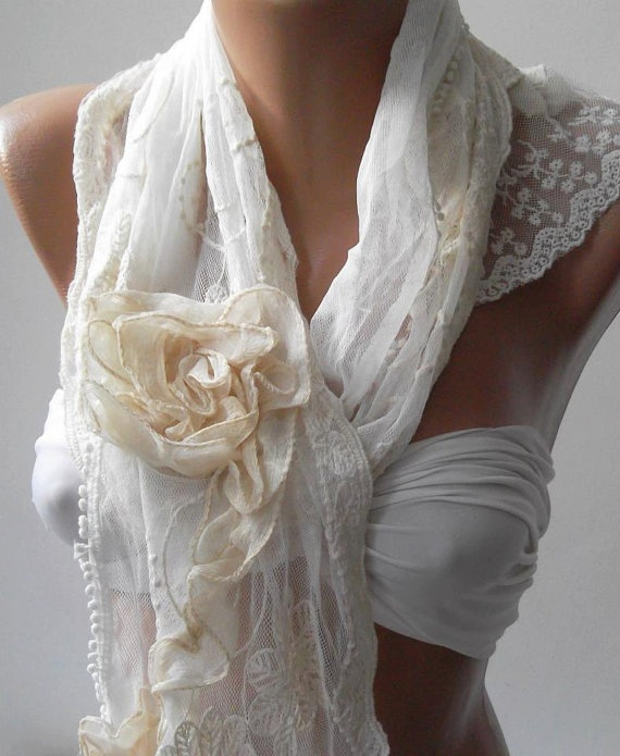 Pearl White  Elegance Shawl  Scarf with Lace Edge by womann