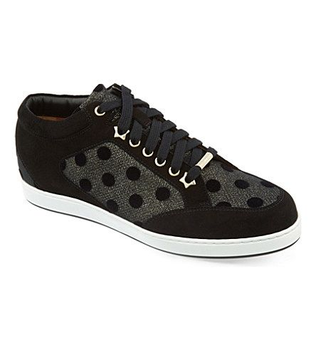 JIMMY CHOO - Miami leather and fine glitter trainers