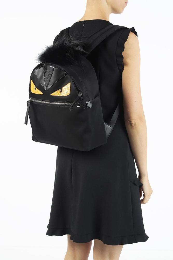 FENDI BAG BUGS BACKPACK FUR TUFT BLACK SNAKE COLOUR BLOCK INLAYS 8BZ03588Z-R2A  #FENDIbagbugs #BackpackStyle