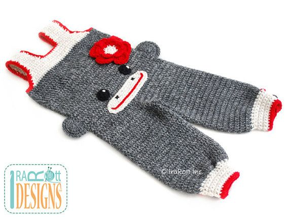 Crochet Sock Monkey Romper Pants for 6-12 Months READY by IraRott