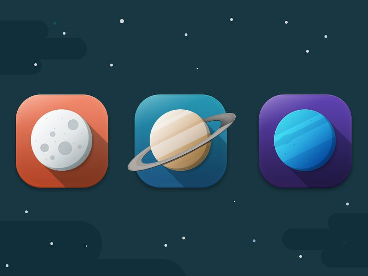 Flat Icons Planets by SvN