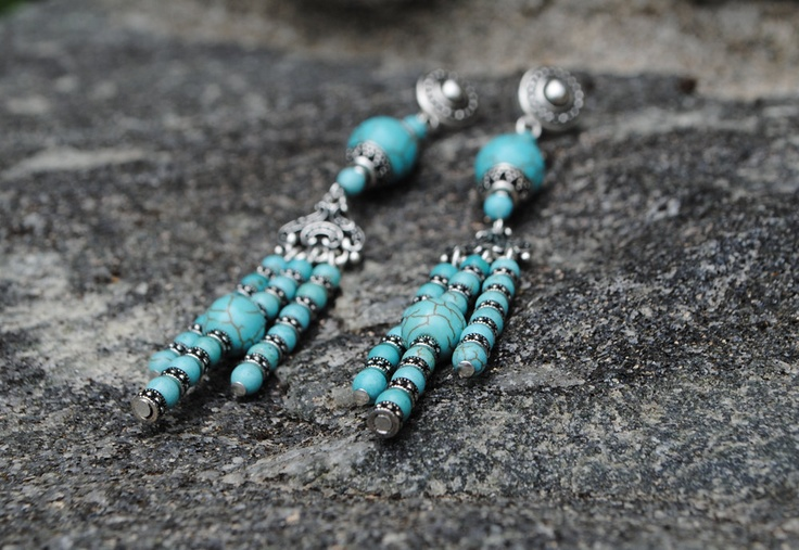 Bohemian Turquoise Wedding Earrings - Terquesa Earrings $56