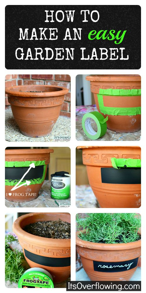 Chalkboard labels on pots.