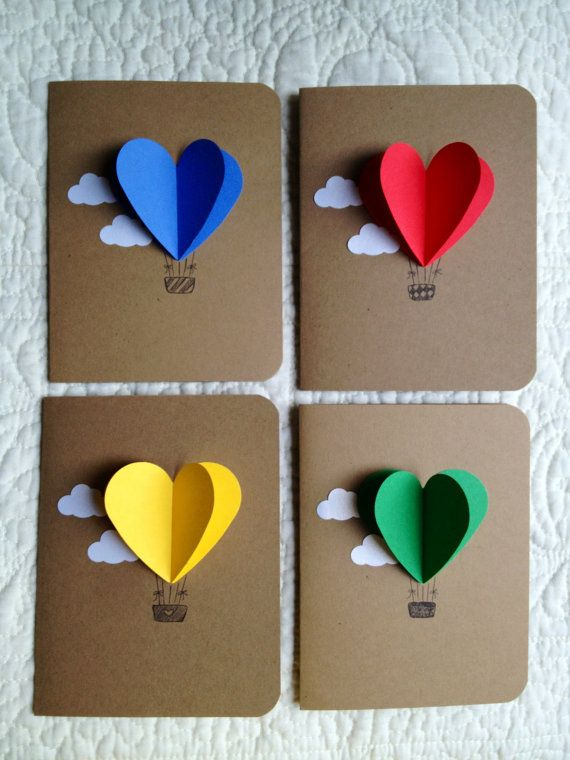 Heart Hot Air Balloon Cards set of 4 by theadoration on Etsy, $8.00
