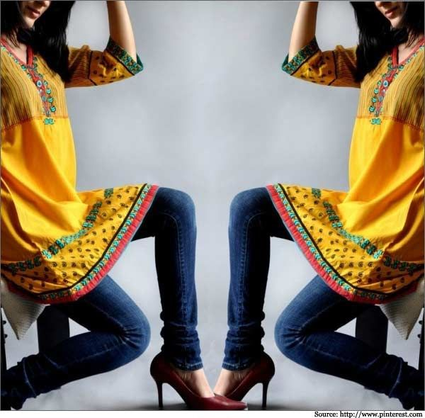 Yellow-Kurti-and-Jeans-for-Girls