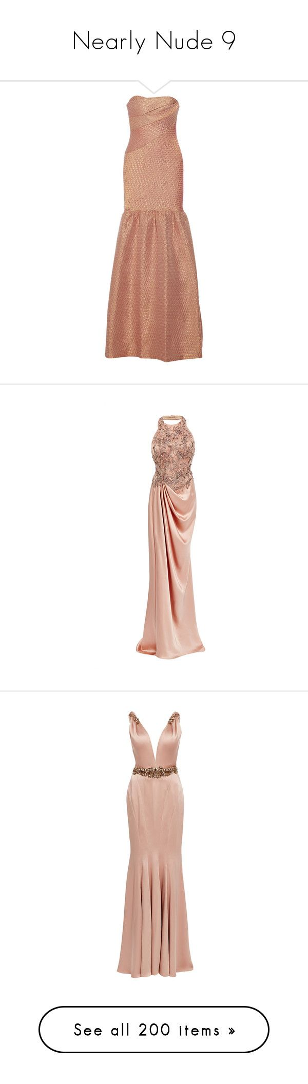 """Nearly Nude 9"" by little-ray-of-sunshine-li ❤ liked on Polyvore featuring dresses, gowns, long dress, maxi dress, beige maxi dress, metallic evening dress, beige dress, maxi gown, metallic gown and marchesa"