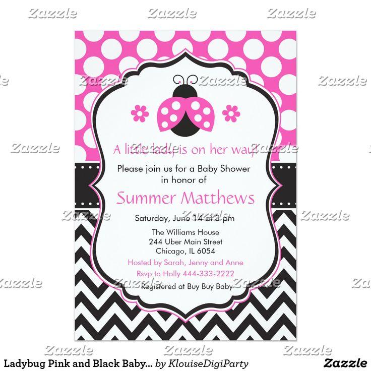 Ladybug Pink and Black Baby Shower Card