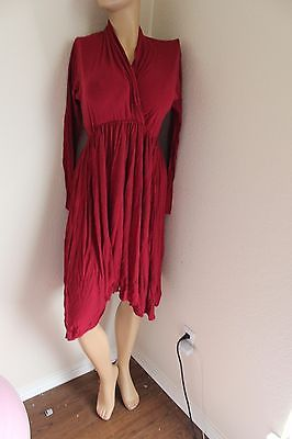 dark red sexy fitted long sleeves knee 50's housewife secretary librarian dress