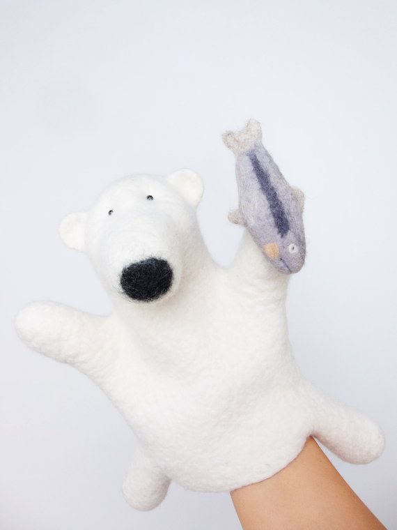 the polar bear hand puppet wet felted number 2 от bibabo на Etsy, €65.00