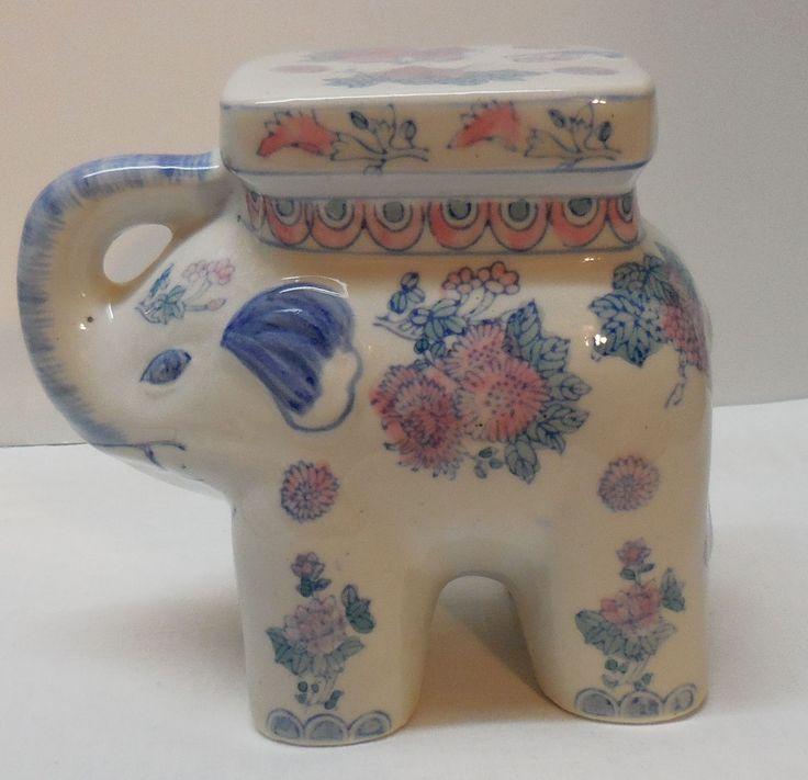 Vintage Porcelain Elephant Plant Stand Mini Garden Stool
