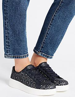 Lace-up Trainers, NAVY