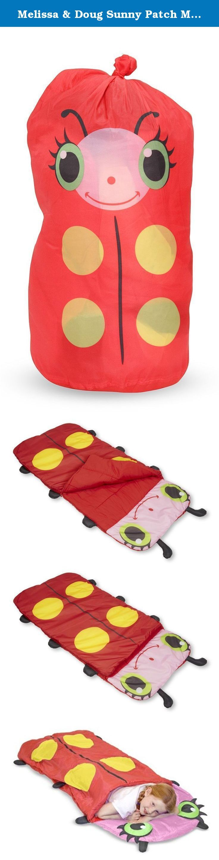 """Melissa & Doug Sunny Patch Mollie Ladybug Sleeping Bag (6 feet long). """"Snug as a bug"""" takes on a whole new meaning when your child is curled up in this cozy ladybug sleeping bag. Over five feet long, this bag is stuffed with comfy polyester and is the perfect place for a night filled with sweet dreams!."""