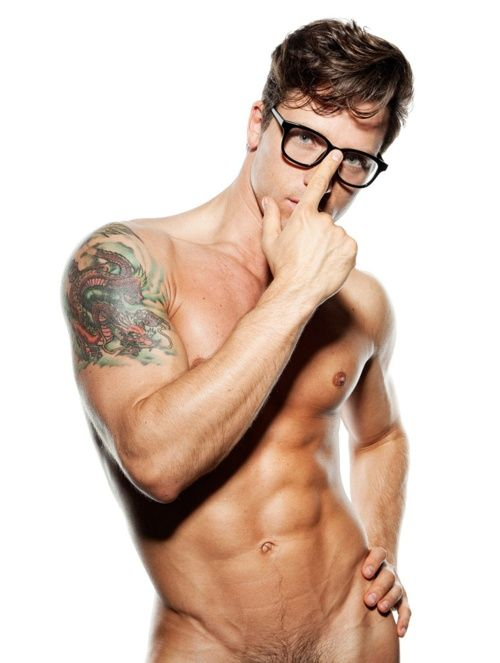 Naked Muscle Jock With 6 Pack Abs And Glasses