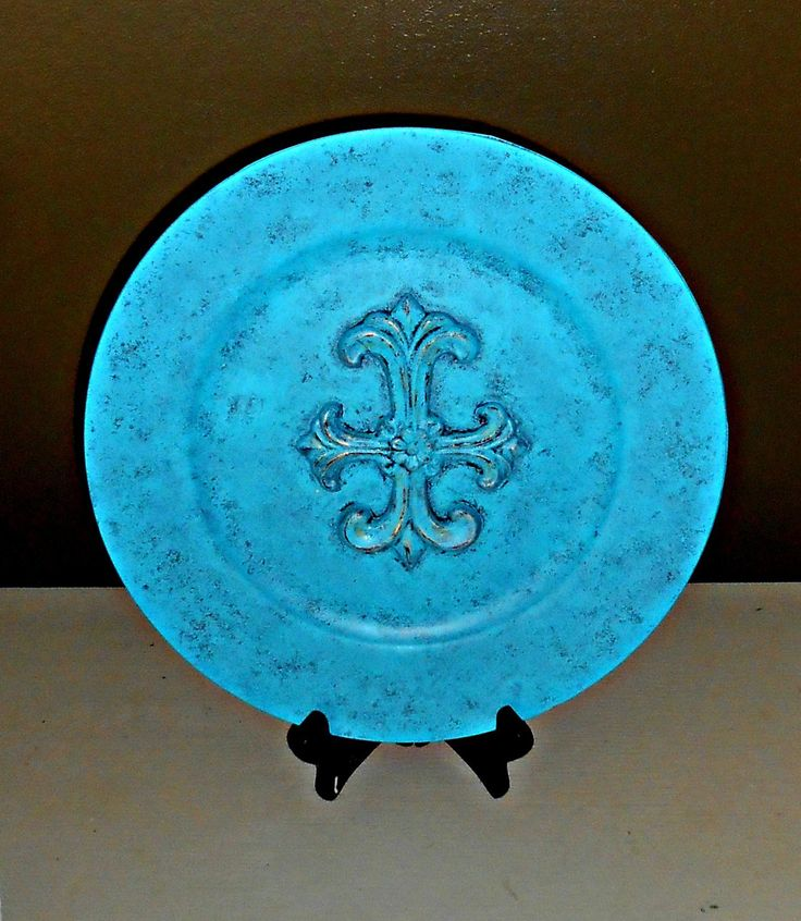 Upcycled Decorative Plate, Fleur De Lis, Tabletops, Aqua and Gold, Distressed, Beach Decor, Hand Finished,Display Plates, Contemporary Home Decor, Centerpices, Mantel Decorations, Accent Pieces. Decorative plate upcycled and distressed in rich aqua and gold; stylish fleur de lis design; ideal as tabletop for your mantels, shelves, side tables; will go well with your browns, black, white color palette; will complement a shabby chic, cottage chic, Mediterranean, and modern home decor theme;...